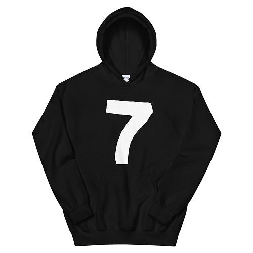 black hoodie with Black Seven logo