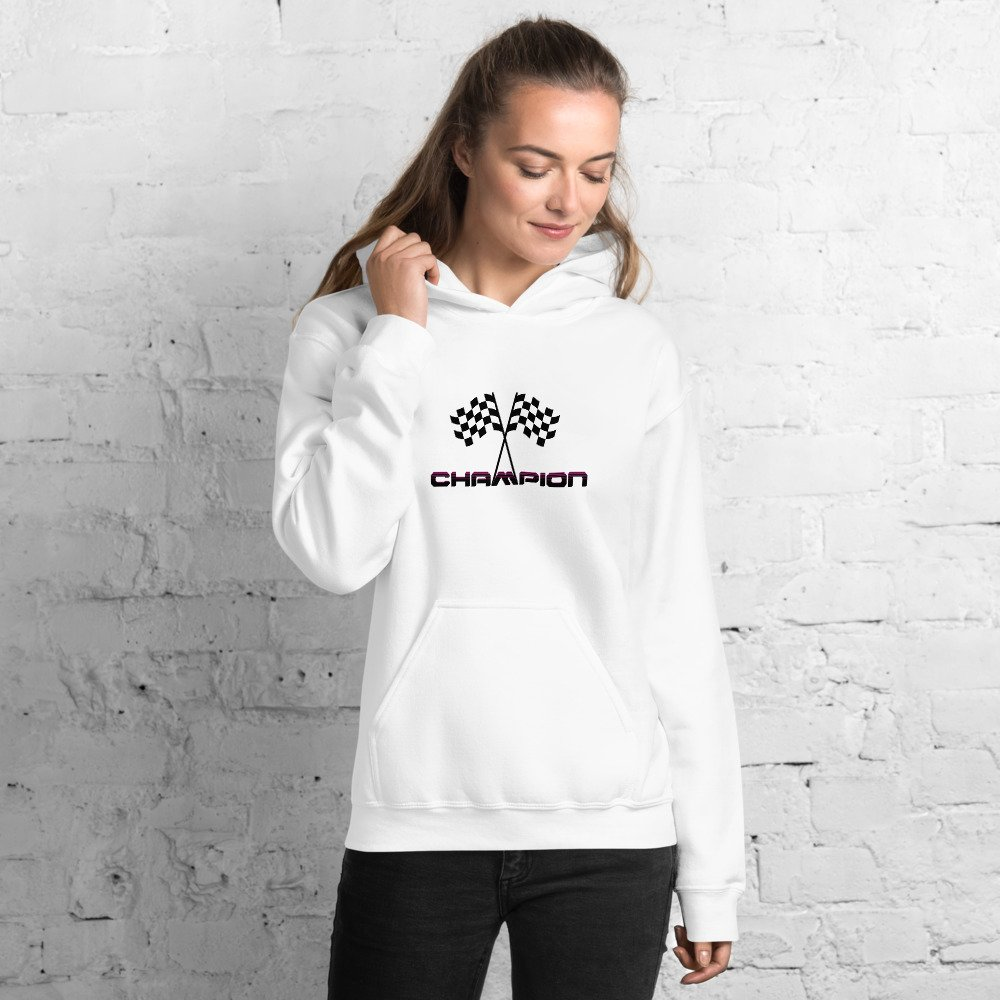 Girl wearing white Champion hoodie with finish flags