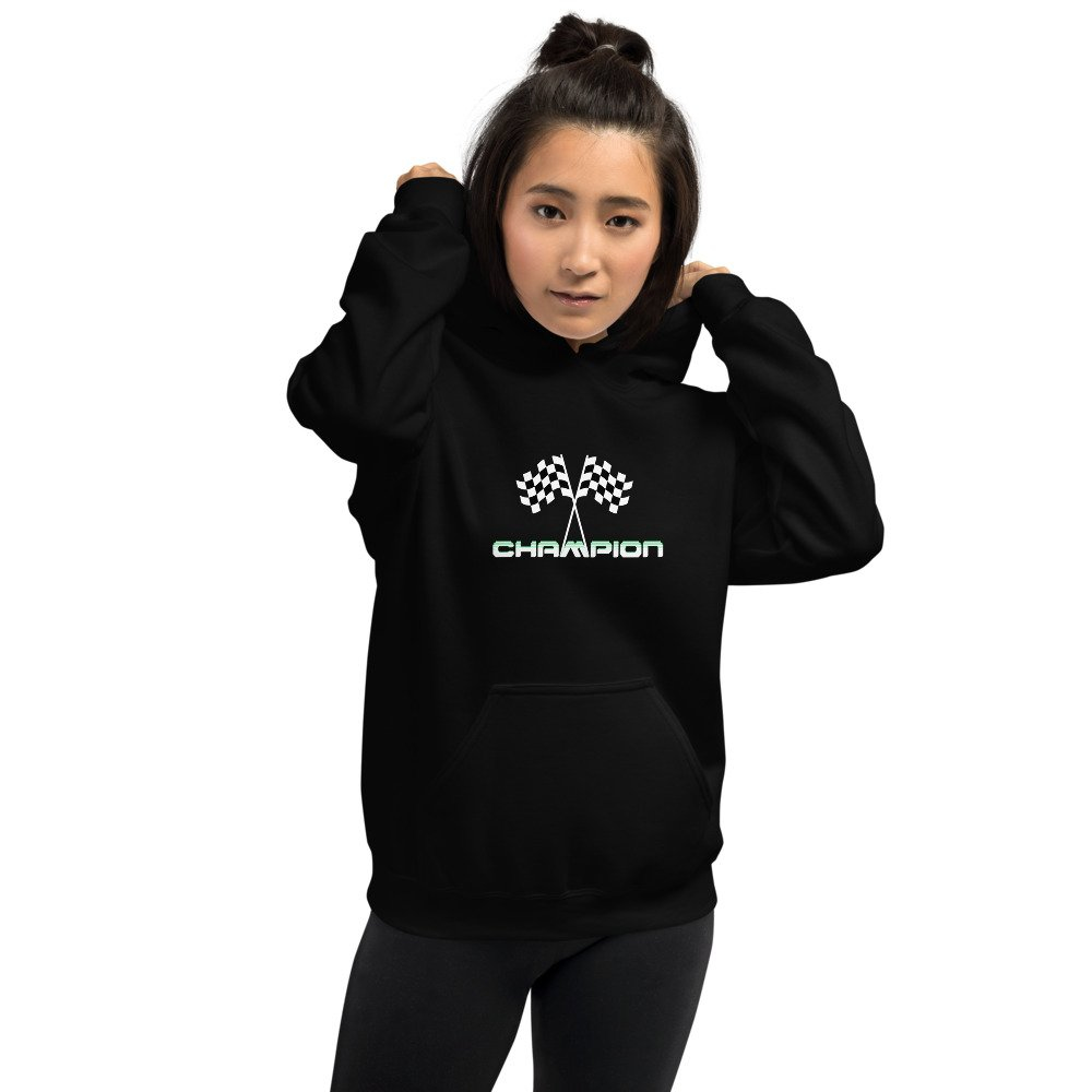 Girl wearing Black Champion hoodie with finish flags